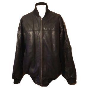 Sean John Black Leather Jacket, Size Large